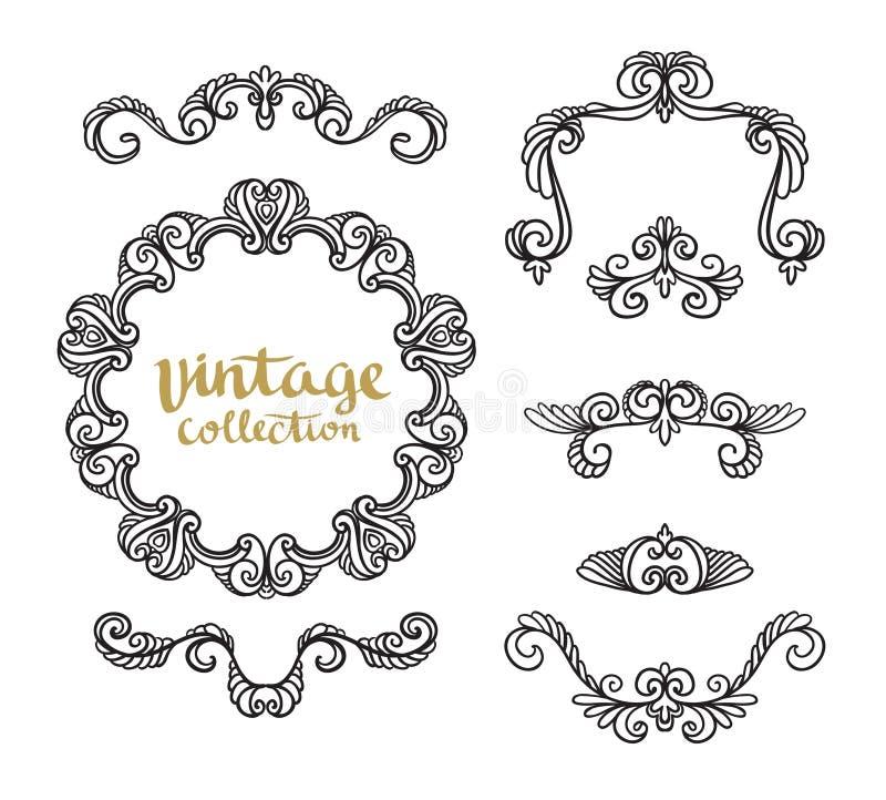Conceptions calligraphiques ornementales de vintage réglées illustration stock