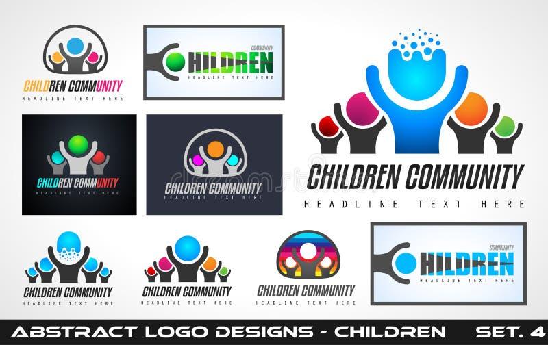 Conceptions créatives de logo de la Communauté d'enfants des FO de collection illustration libre de droits