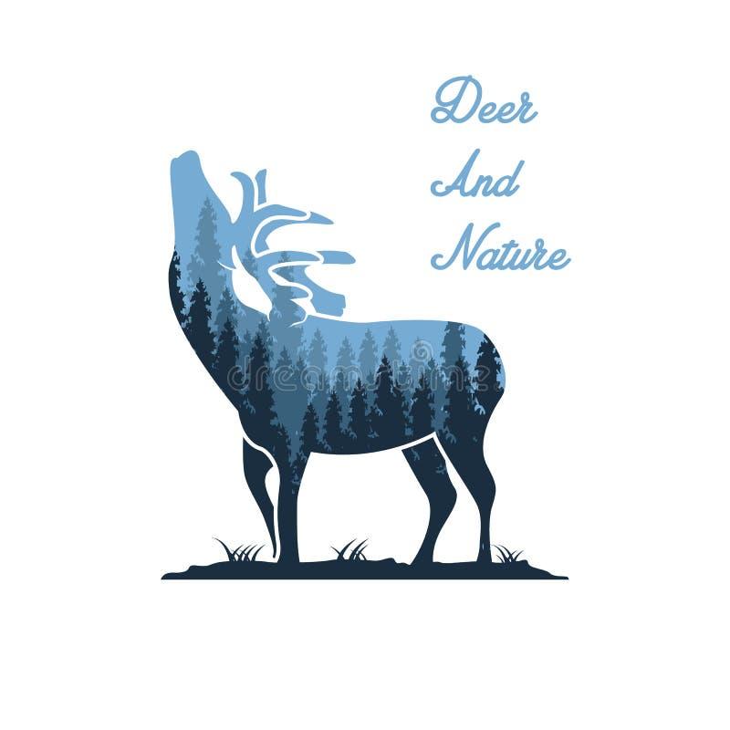 Conceptions d'illustration de cerfs communs et de nature illustration stock