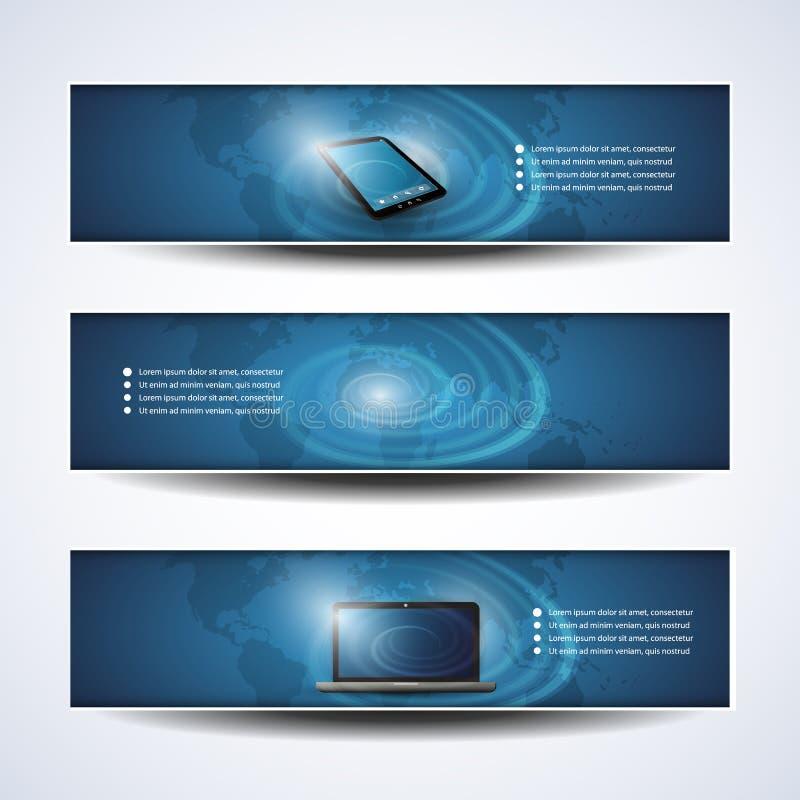 Conceptions de bannière ou d'en-tête, nuage calculant, réseau illustration stock
