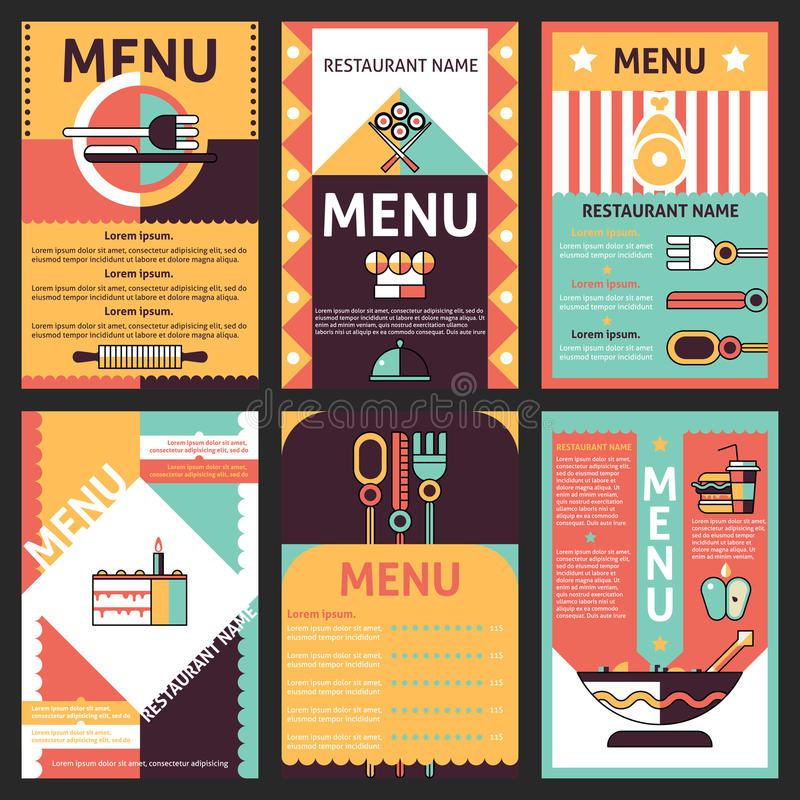 Conceptions de carte de restaurant illustration de vecteur