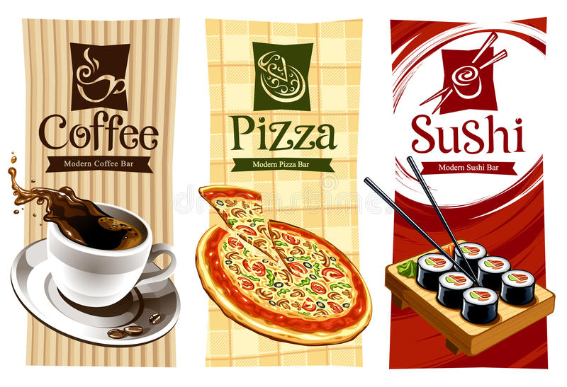 Conceptions de descripteur des drapeaux de nourriture illustration stock