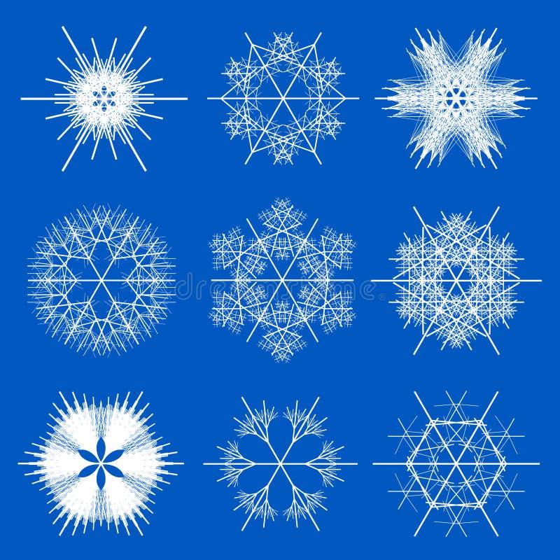 Conceptions de flocon de neige de fractale   illustration de vecteur