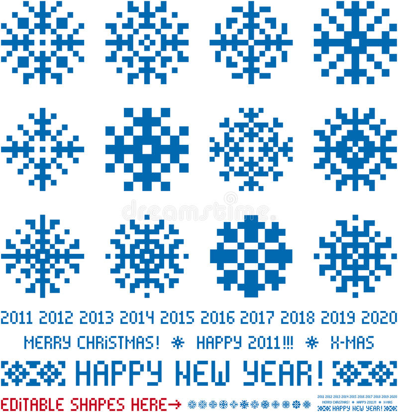 Conceptions de flocons de neige de Noël dans le type de Pixel illustration libre de droits