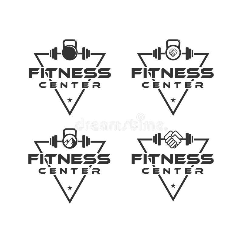 Conceptions de logo de centre de fitness avec le fond de triangle, et ensemble de barbeau illustration libre de droits