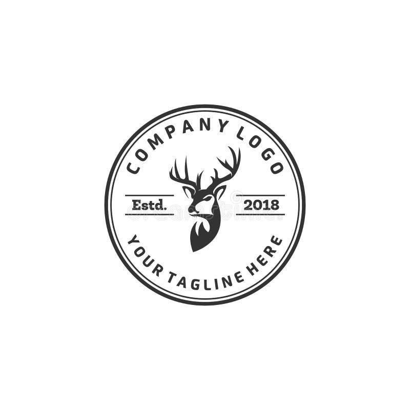 Conceptions de logo de cerfs communs de faune, logo de club de chasse illustration de vecteur