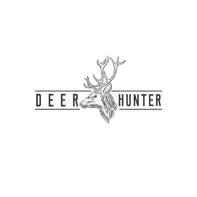 Conceptions de logo de cerfs communs de faune, logo de club de chasse illustration libre de droits