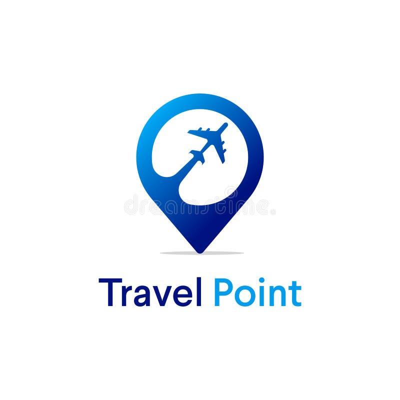Conceptions de logo de point de voyage avec le symbole d'avion, logo moderne illustration libre de droits