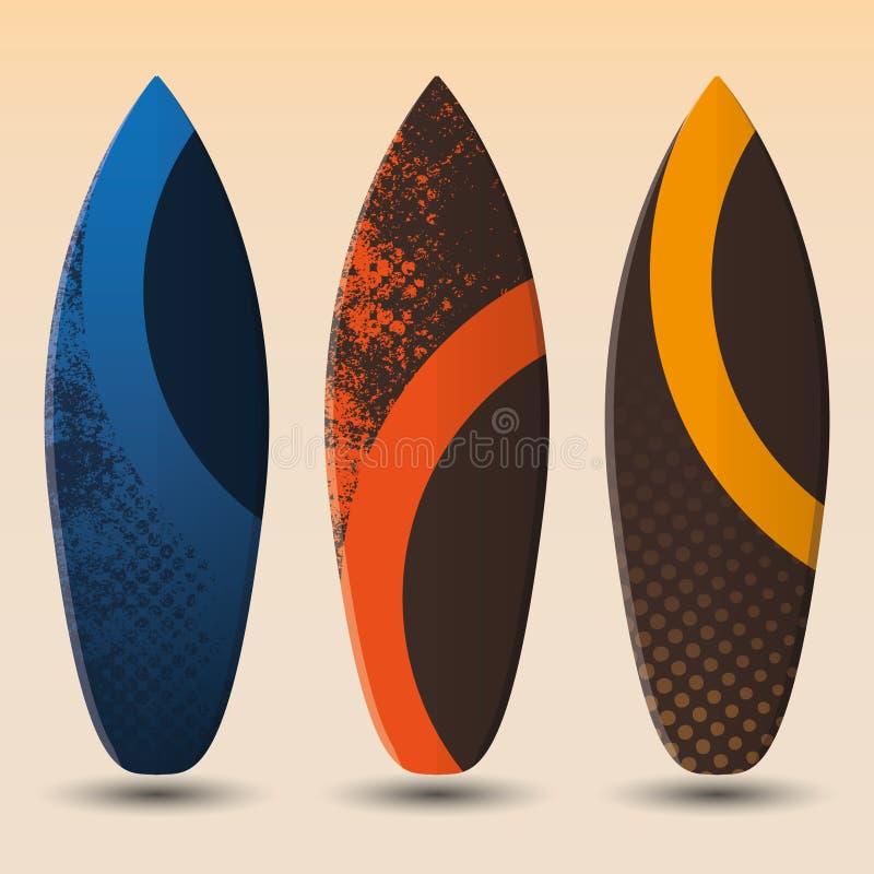 Conceptions de planche de surfing de vecteur illustration stock