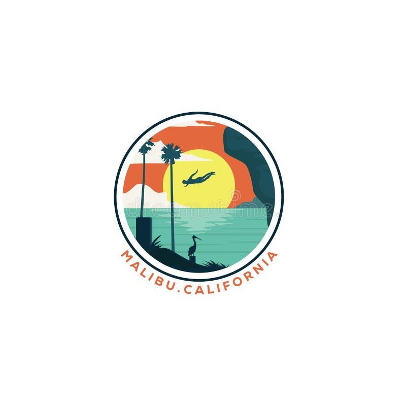 Conceptions de plong?e de logo de plage de la Californie de falaise illustration de vecteur