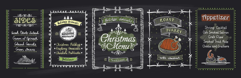 Conceptions de tableau noir de menu de Noël de craie réglées Illustration tirée par la main de vecteur avec le menu de vacances illustration de vecteur