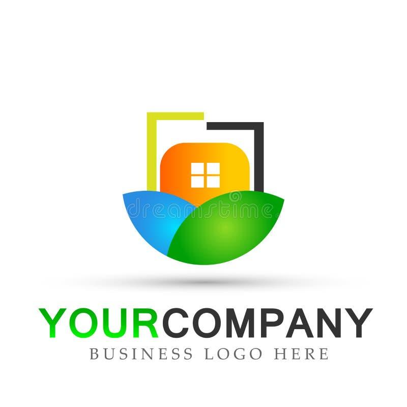 Conceptions de vecteur d'icône de symbole de nature de feuilles de vert de bien-être de personnes d'écologie de logo d'immobilier illustration de vecteur