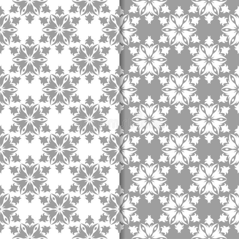 Conceptions florales blanches et grises d'ornamental Ensemble de configurations sans joint illustration de vecteur