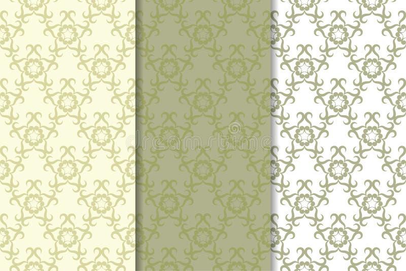 Conceptions florales de vert olive Ensemble de configurations sans joint illustration de vecteur