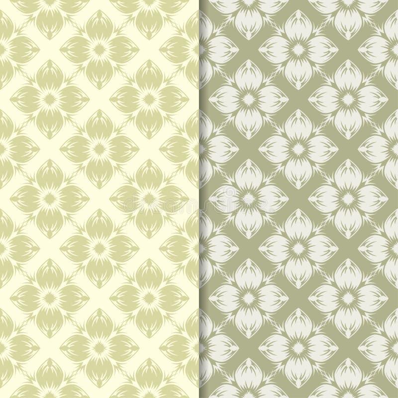 Conceptions florales de vert olive Ensemble de configurations sans joint illustration libre de droits