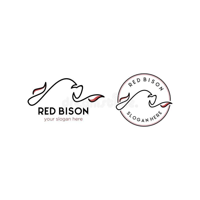 Conceptions minimalistes de logo de bison de vache à taureau illustration libre de droits