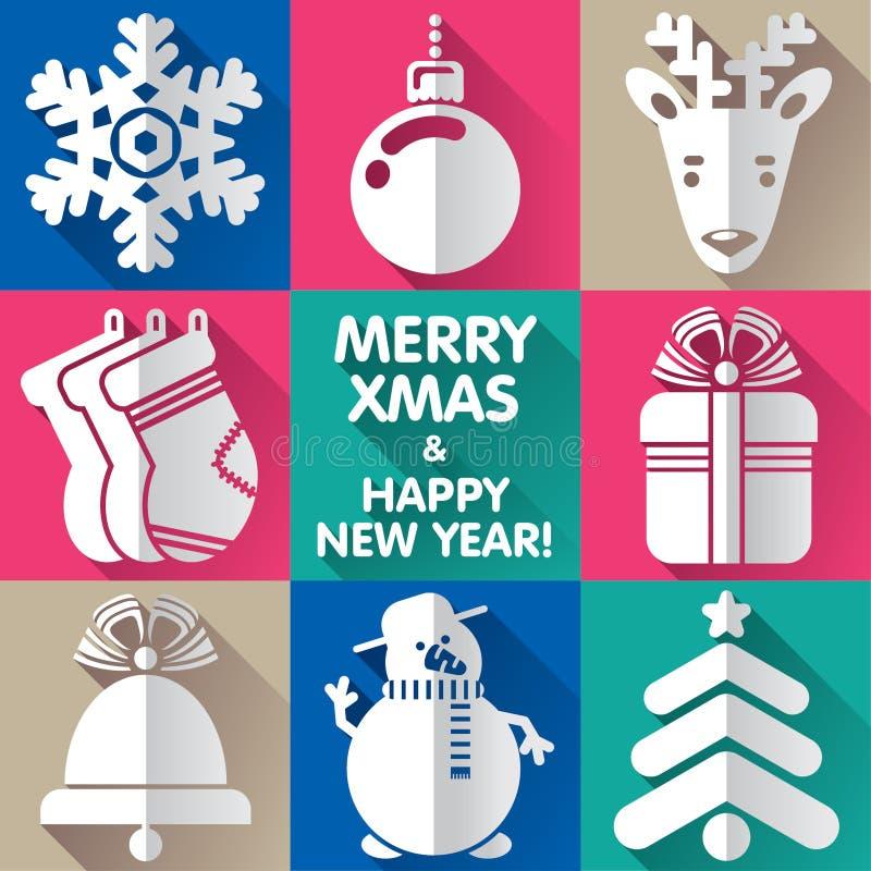 Conceptions pendant Noël et la nouvelle année illustration de vecteur