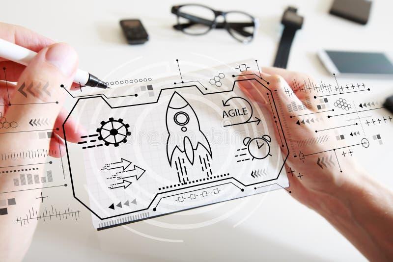 Concepto ágil con un cuaderno fotografía de archivo libre de regalías