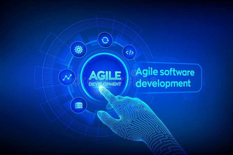 Concepto ágil de la metodología de desarrollo de programas en la pantalla virtual Tecnología de Digitaces, concepto grande de los stock de ilustración