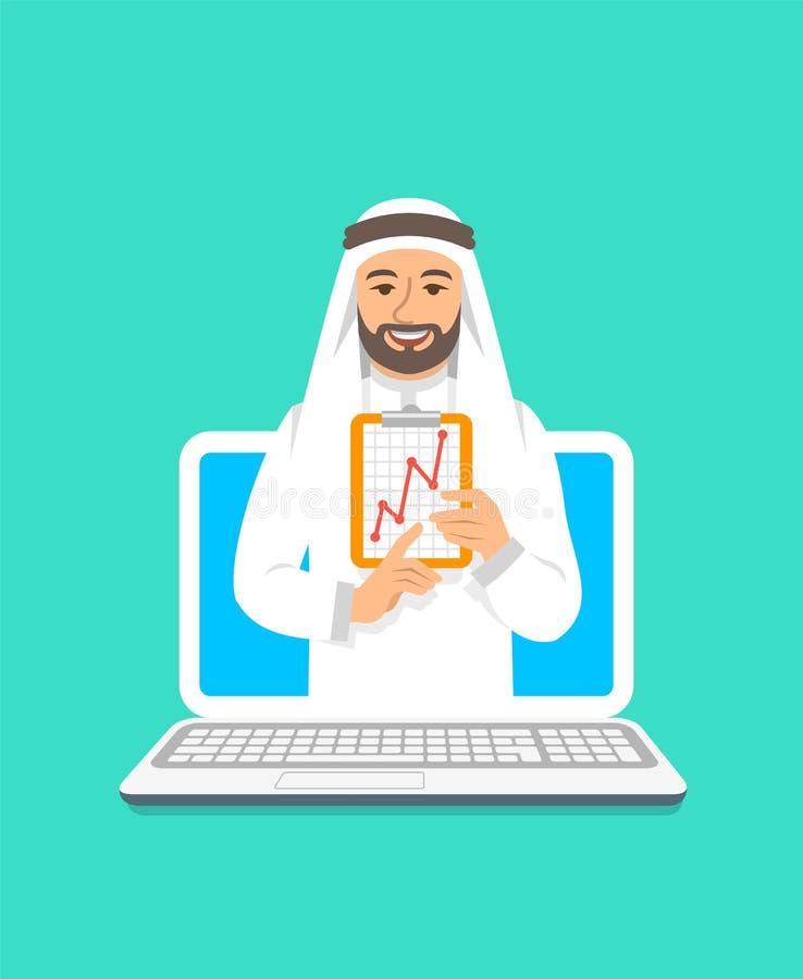 Concepto árabe del coche del hombre de la Escuela de Negocios en línea ilustración del vector