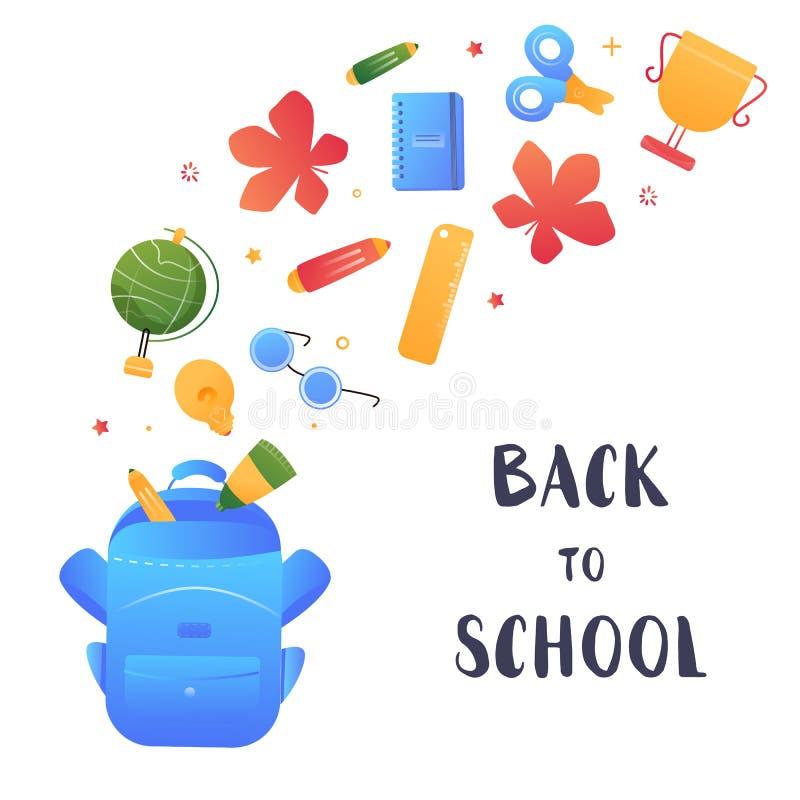 Concepto abierto de la mochila, de nuevo a bandera de escuela, diseño simple para cualquier propósitos Elemento creativo del vect stock de ilustración