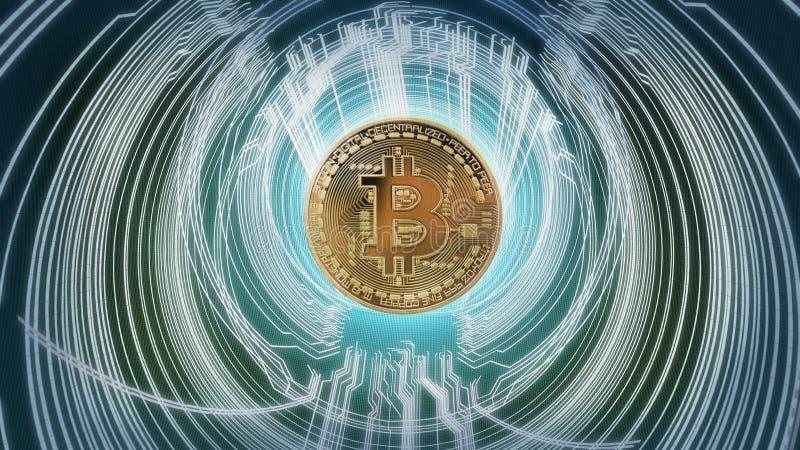 Concepto abstracto cibernético del bitcoin ilustración del vector
