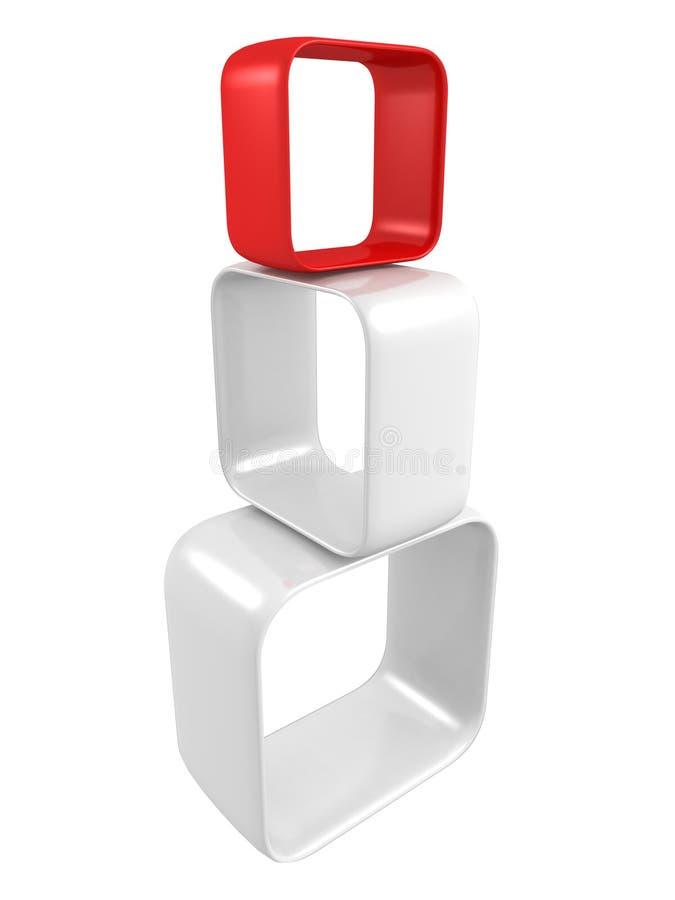 Concepto abstracto de la dirección con dimensión de una variable roja del arranque de cinta stock de ilustración