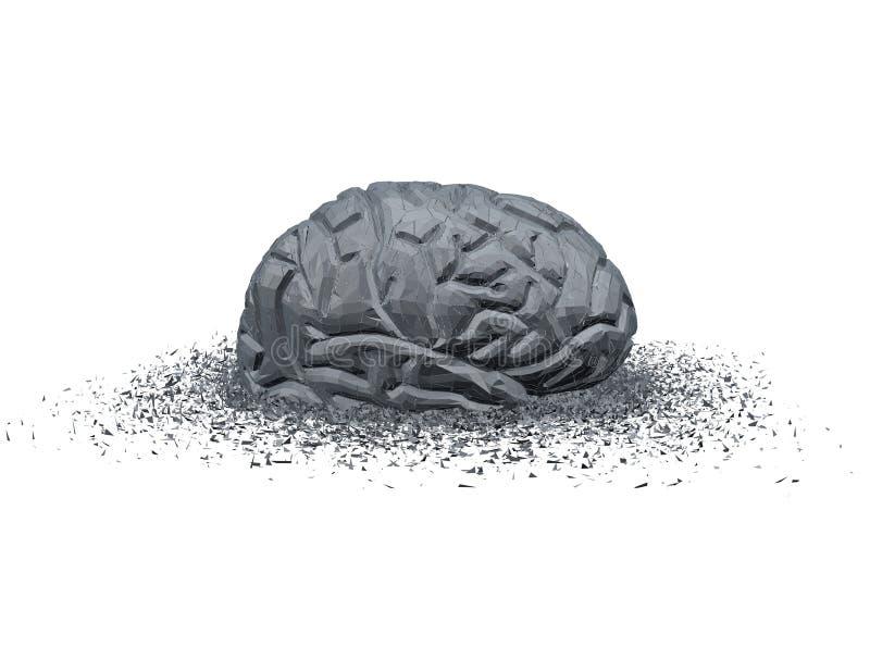 Concepto abstracto de la lesión cerebral y de la enfermedad con el cerebro 3d roto stock de ilustración