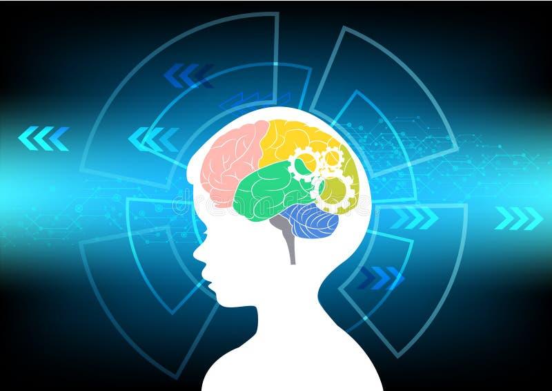 Concepto abstracto de la onda cerebral en tecnología azul del fondo ilustración del vector