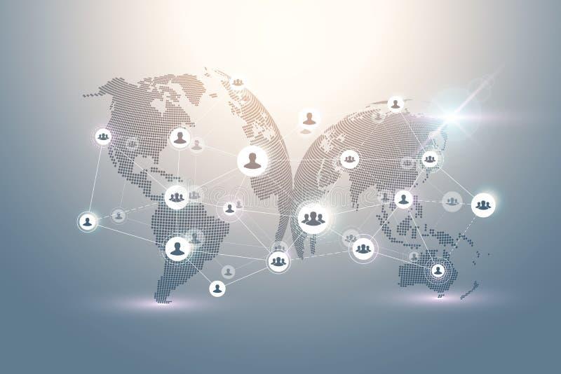 Concepto abstracto de la tecnología de la conexión de la gente con el globo punteado del mundo Concepto del negocio global y tecn ilustración del vector