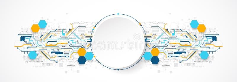 Concepto abstracto de la tecnología del círculo Placa de circuito, alto fondo del color del ordenador libre illustration