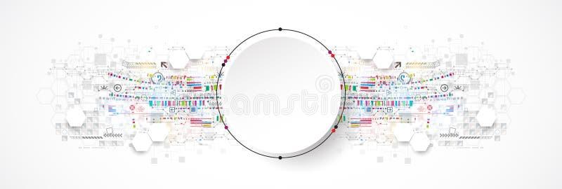 Concepto abstracto de la tecnología del círculo Placa de circuito, alto fondo del color del ordenador stock de ilustración