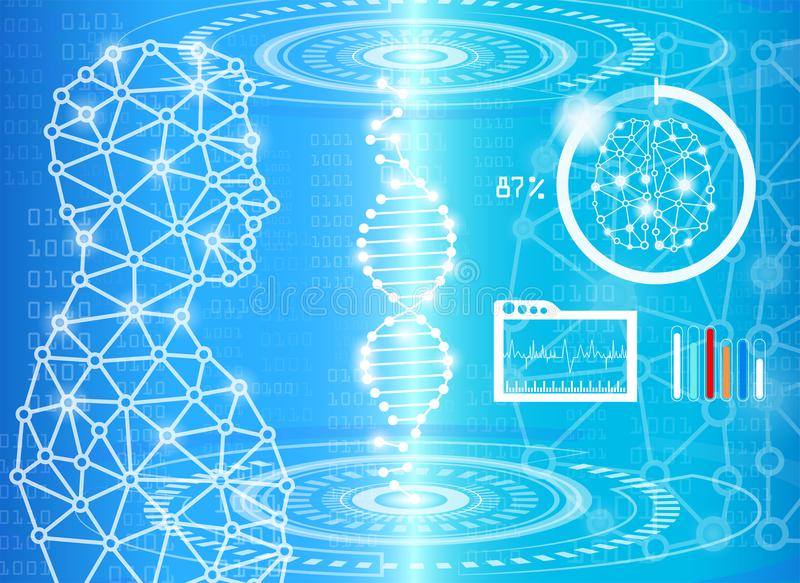 Concepto abstracto de la tecnología del fondo en luz azul ilustración del vector