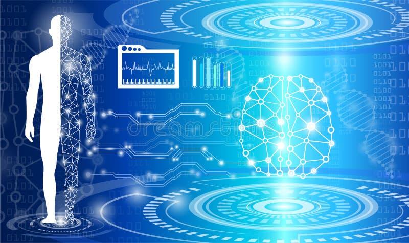 Concepto abstracto de la tecnología del fondo en luz, cerebro y h azules libre illustration