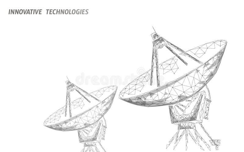 Concepto abstracto de la tecnología de radar de la antena de la defensa poligonal del espacio La exploración detecta el wireframe stock de ilustración