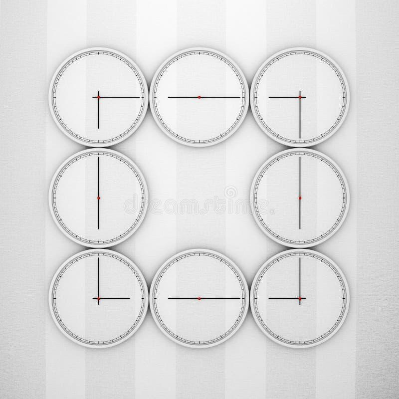 Concepto abstracto de los relojes de pared de la zona horaria representación 3d ilustración del vector