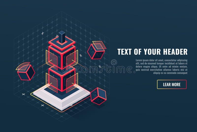 Concepto abstracto de tótem del icono del elemento del juego, punto de control, visualización de los datos digitales, complejo de libre illustration
