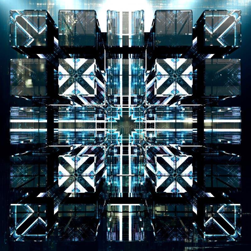 Concepto abstracto de un ordenador futurista del quántum en filas imagenes de archivo