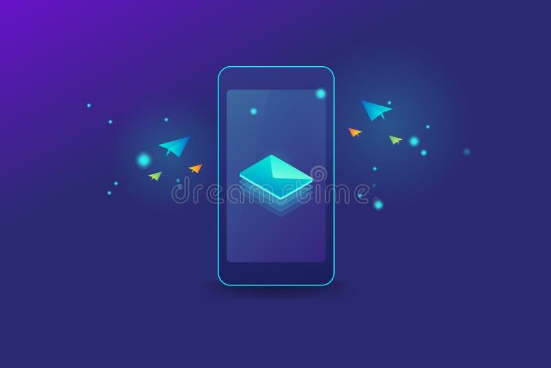 Concepto abstracto del correo electrónico de notificación móvil, mensaje en el smartphone, concepto de los iconos que brilla inte libre illustration