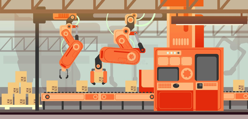Concepto abstracto del vector del márketing con la cadena de producción de la asamblea de la fabricación banda transportadora stock de ilustración