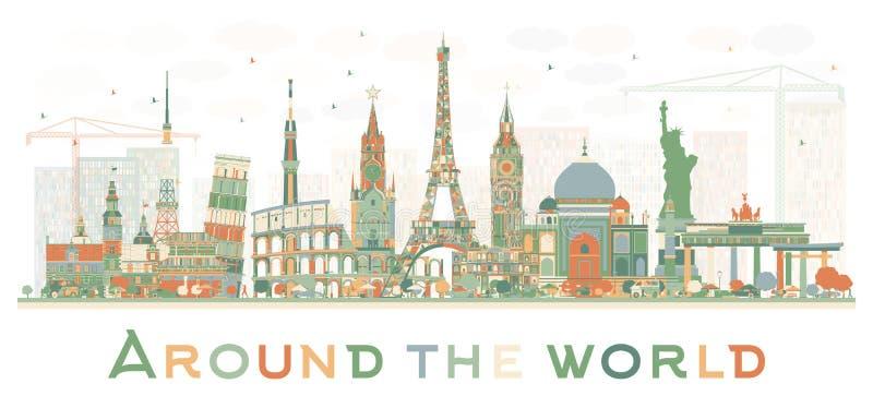 Concepto abstracto del viaje en todo el mundo con international famoso ilustración del vector