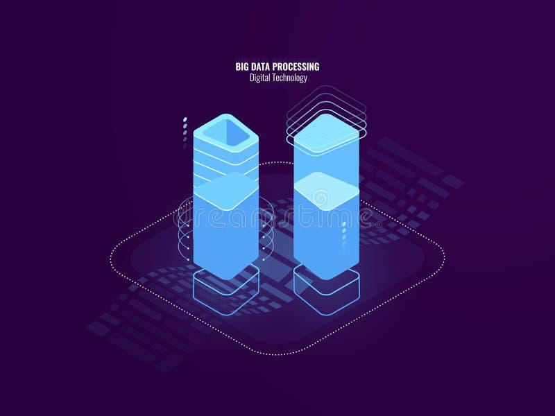 Concepto abstracto impresionante de la tecnología digital, granja del sitio del servidor, tecnología de la seguridad del blockcha stock de ilustración