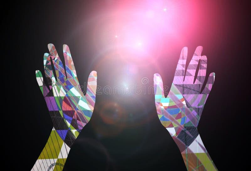 Concepto abstracto - manos que alcanzan hacia las estrellas stock de ilustración