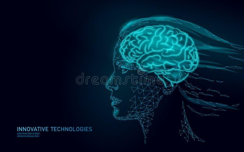 Concepto abstracto polivin?lico bajo de la realidad virtual del cerebro Sueño femenino de la imaginación de la mente del perfil d ilustración del vector