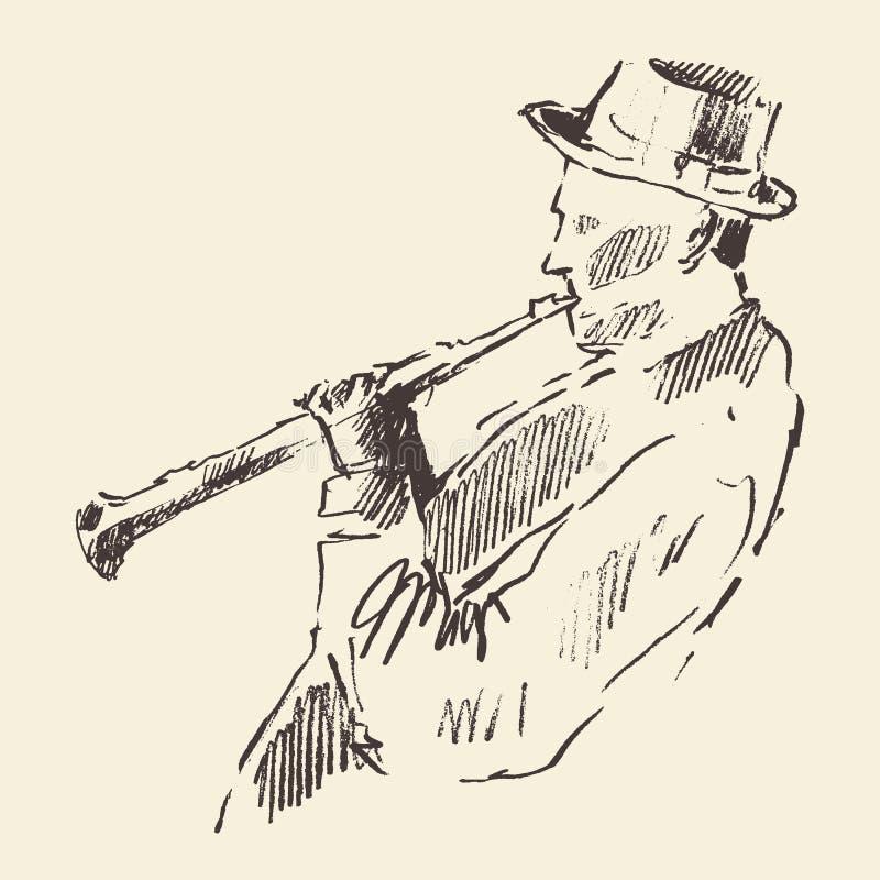Concepto acústico de la música del clarinete del cartel del jazz stock de ilustración