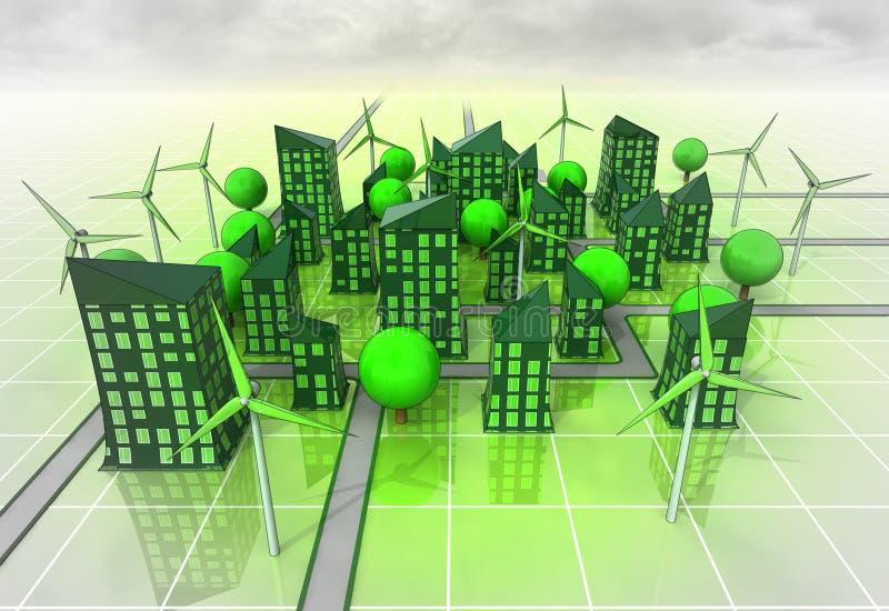 Concepto accionado molino de viento del organismo de la ciudad libre illustration