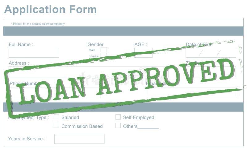 Concepto aceptado aprobado préstamo del préstamo de banco ilustración del vector