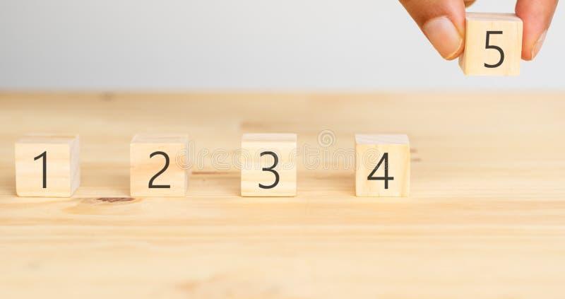Concepto acertado del negocio, intento del hombre de la mano para poner los 5 cinco que valoran al negocio o para mantener la exp imágenes de archivo libres de regalías