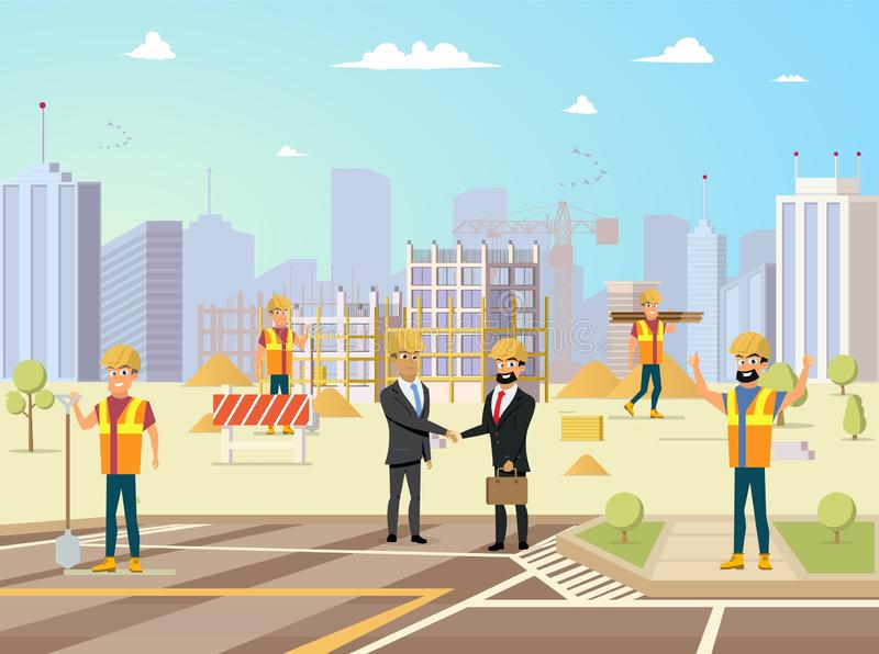 Concepto acertado del vector del proyecto de construcción stock de ilustración