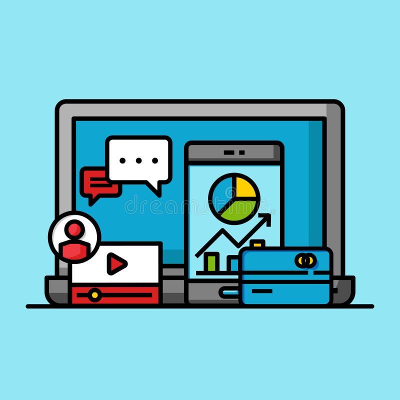 Concepto acertado en línea del márketing de negocio, beneficio comercial del crecimiento de Internet ilustración del vector